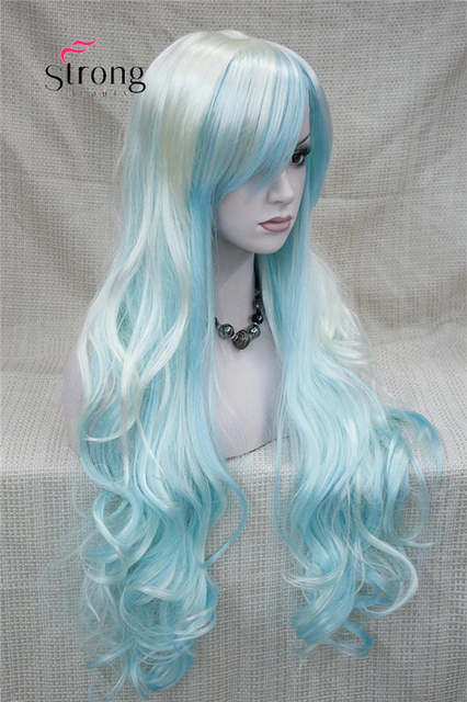 placeholder Women s Wigs Long Curly White Blue cosplay wig Synthetic Hair a65c1f01b1