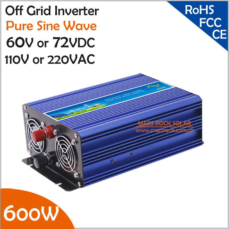600W 60V/72VDC to 110V/220VAC Off Grid Pure Sine Wave Single Phase Solar or Wind Power Inverter, Surge Power 1200W600W 60V/72VDC to 110V/220VAC Off Grid Pure Sine Wave Single Phase Solar or Wind Power Inverter, Surge Power 1200W