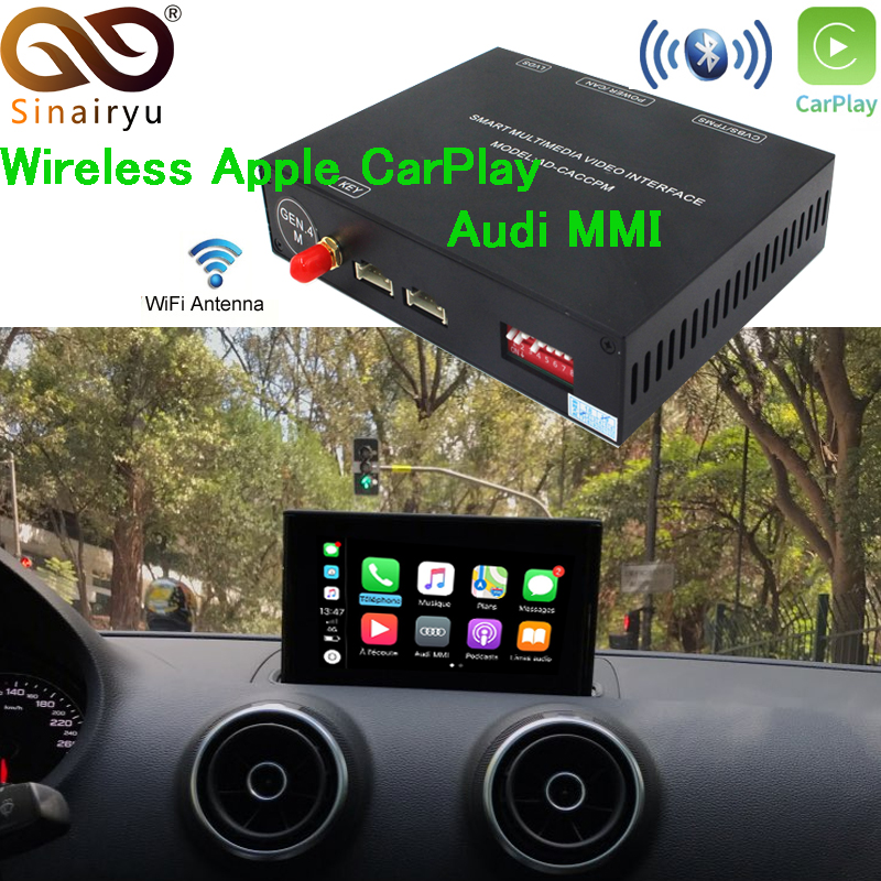 Sinairyu Sans Fil Apple Carplay/Android auto Solution pour Audi Q5 A4 A5 A6 A7 Q7 A3 Q3 B9 MMI avec caméra de recul pour Audi