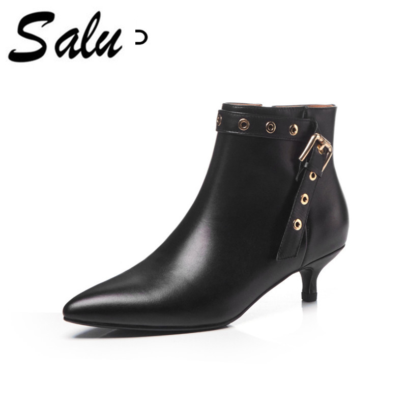 Salu 2018 new Winter Shoes Cow Suede Square Toe Diamond thin High Heel Women Ankle Boots Genuine leather Chelsea Boot smile circle suede cow leather chelsea boots women ankle boot fashion rivets round toe lady shoes women high heel boots