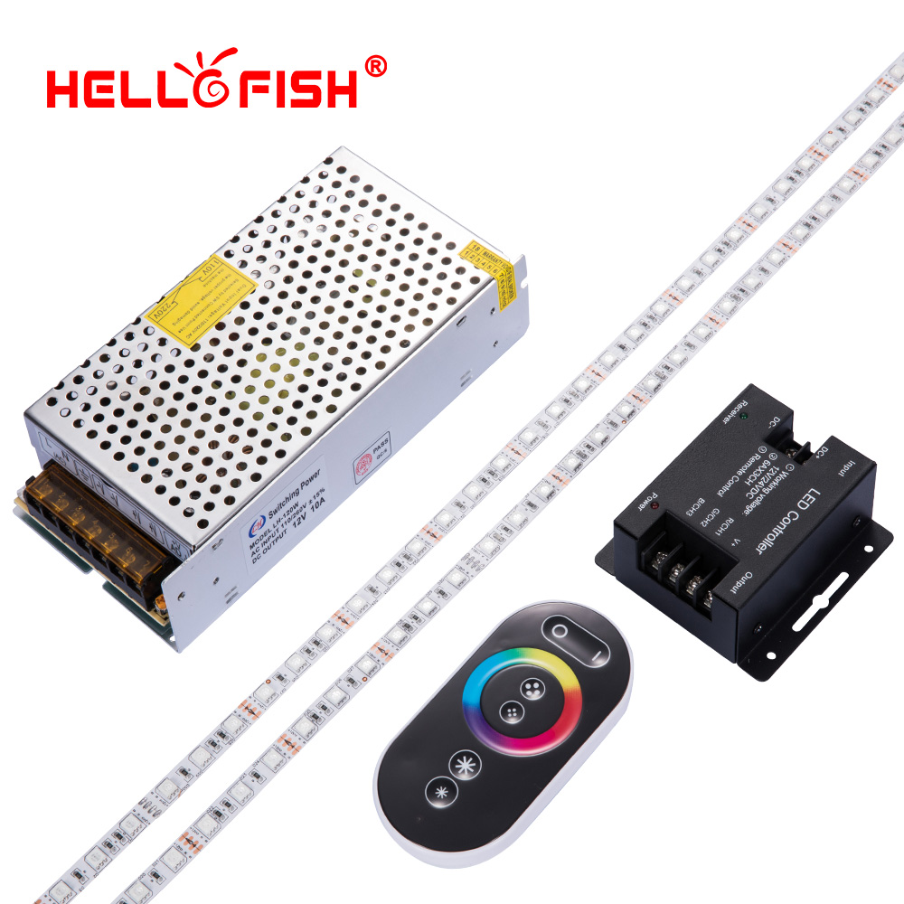 High brightness CRI 5050 led diode strip 12V flexible light stripe 60 LED tape Touch controller set Not waterproof Hello Fish