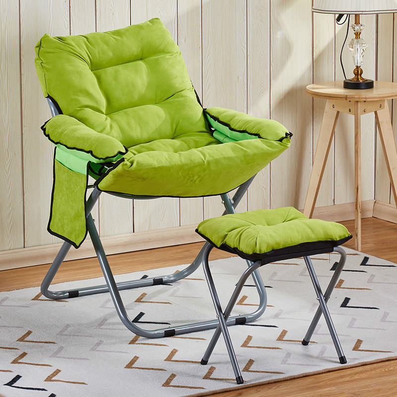 Lazy Chair Modern Minimalist Portable Bedroom Backrest Recliner Dormitory Single Folding Balcony Computer Couch with Footstool