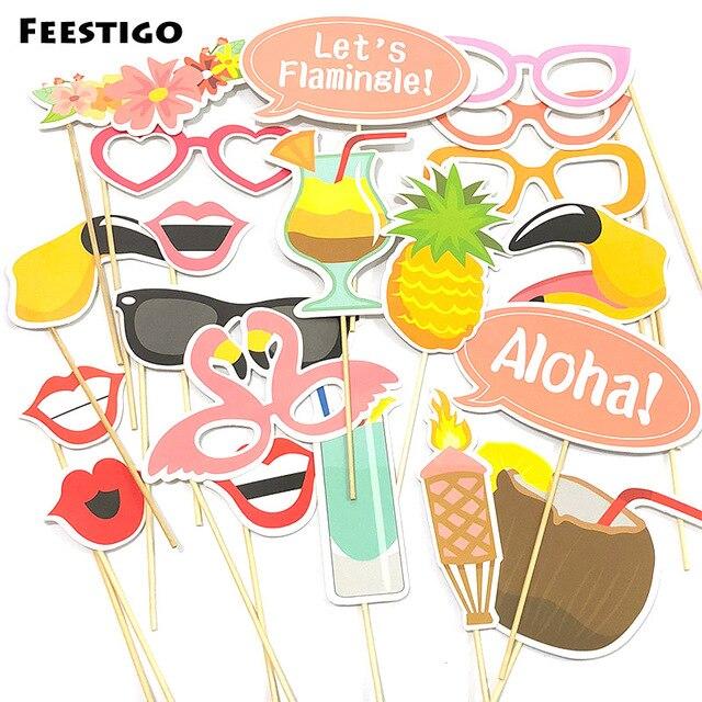 Feestigo Summer Beach Party Photobooth Props Luau Aloha Flamingos