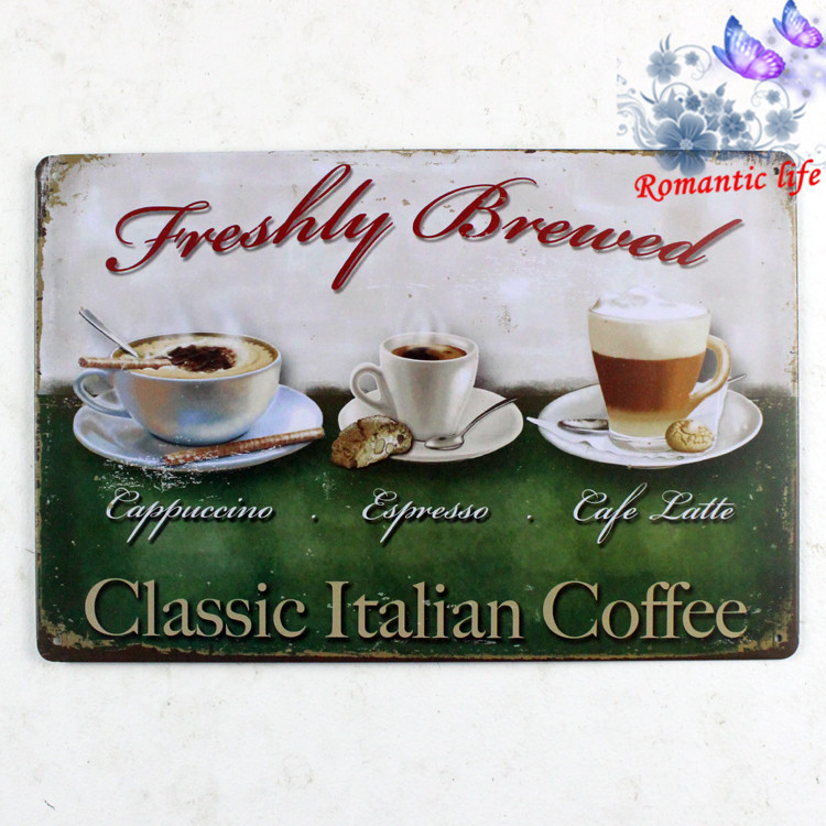 Classic Italian Coffee Tin Sign ART Painting Metal Craft Cafe Decoration retro home decor decorative wall dishes
