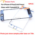 Original 3 in 1 Replacement Front Screen Outer Lens Touch Panel Glass With Frame OCA for iPhone 6 Plus Broken Screen Repair