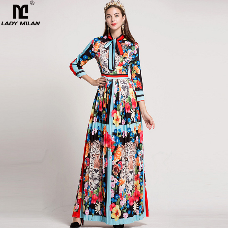 Lady Milan Women 39 s O Neck Long Sleeves Bow Detailing Fixed Pattern Floral Printed Striped Pleated Elegant Maxi Runway Dresses in Dresses from Women 39 s Clothing