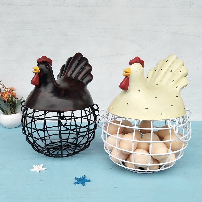 Ceramic Iron Egg Storage Basket Snack Fruit Basket Creative Collection Ceramic Hen Oraments Decoration Kitchen Accessories New