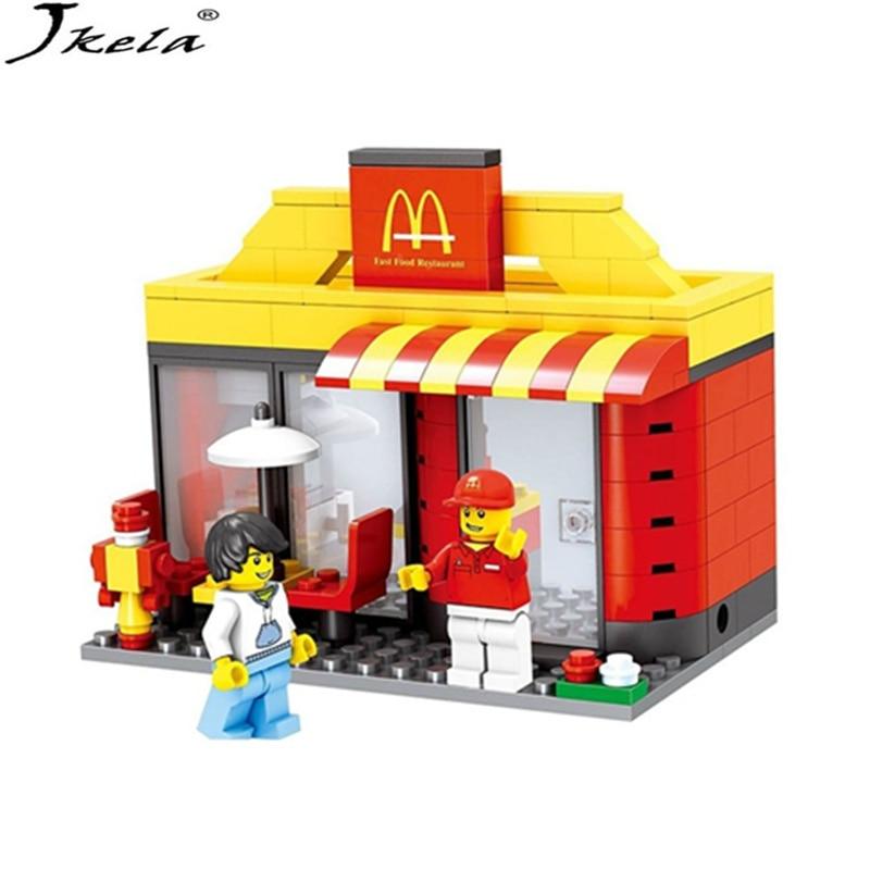 [HOT] Series Mini Street Model Store Shop with Apple Store McDonald`s Building Block Toys Compatible Legoingly city Hsanhe формочки для печенья zenker