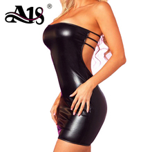 A18 Sexy Women Exotic Dresses Leather Backless Short Dress Sexy Hot Women's Exotic Apparel Ladies Erotic Sets Dance Costumes(China)