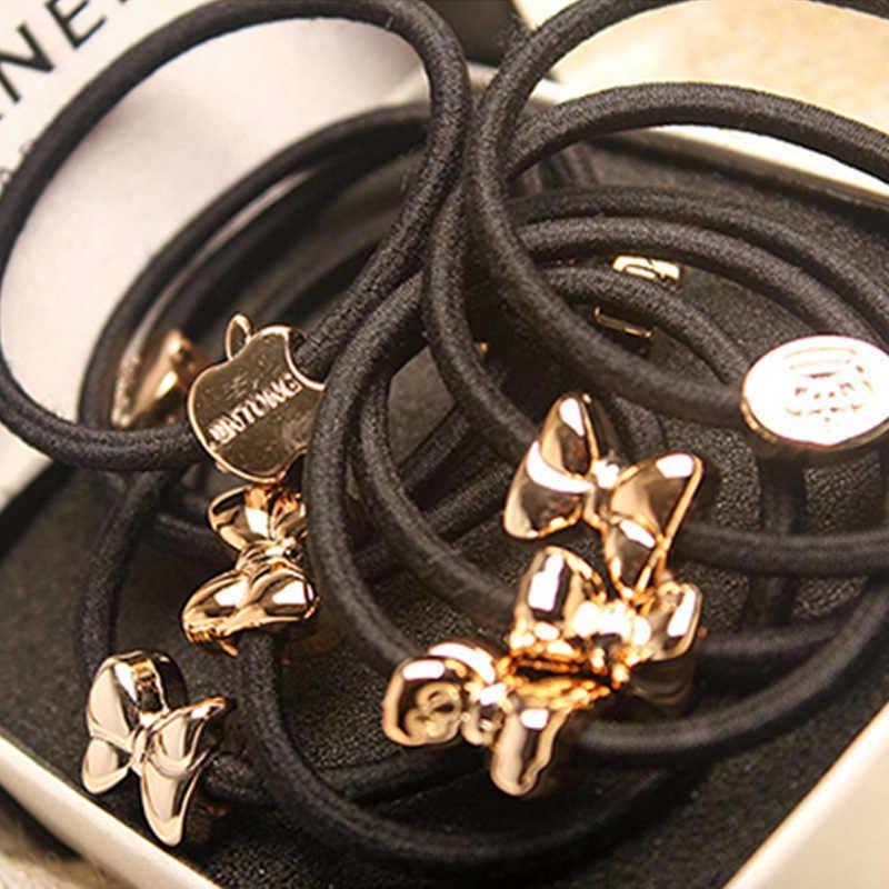 Koreaanse sieraden hoofdtooi hoge elastische dikke lederen pezen haarband lederen pezen haar touw cirkel groothandel