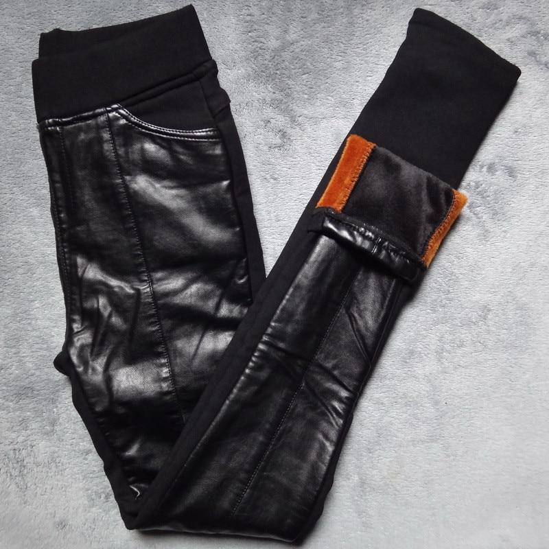 PU Leer Stiksels Leggings Winter Plus Fluwelen Leggings Vrouwen Hoge Taille Zwarte Leggins Warm Skinny Lange Broek Legging C3931
