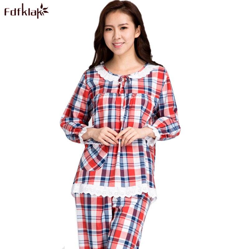 Fdfklak Fashion Plaid Pajamas Set Women Long Sleeve Cotton Sleepwear Pyjamas Suit Tracksuits for Woman Casual Pijamas Sets ...