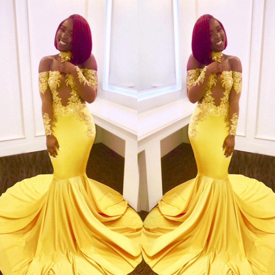 Off the Shoulder Long Sleeves Bright Yellow Elastic Prom Dress with Collar Mermaid Sexy Illuion Evening