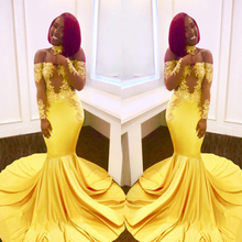 Off the Shoulder Long Sleeves Bright Yellow Elastic Prom Dre