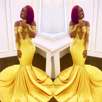 Off the Shoulder Long Sleeves Bright Yellow Elastic Prom Dress with Collar Mermaid Sexy Illuion Evening Dresses