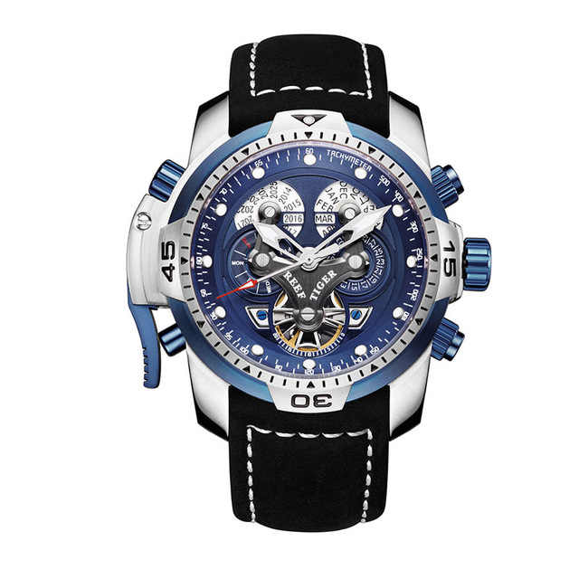 Reef tiger aurora série rga3503 masculino esporte militar multifunções dial automático relógio de pulso mecânico-pulseira de couro