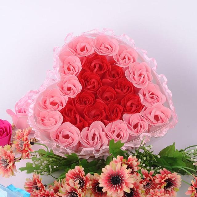 24Pcs Rose Flower Soap Heart Scented Bath Body Petal Rose Flower Soap Wedding Decoration Gift For Lovers 3