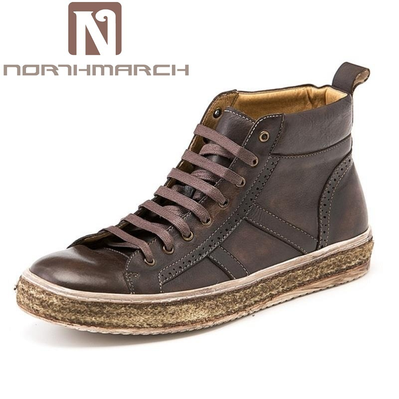 NORTHMARCH Boots Men Brand Retro Style Leather Casual Shoes Men New 2017 Winter Boots Tactical Boots Fashion Work Boots botte 2017 new men s retro leather breathable sneaker fashion boots men casual shoes handmade fashion