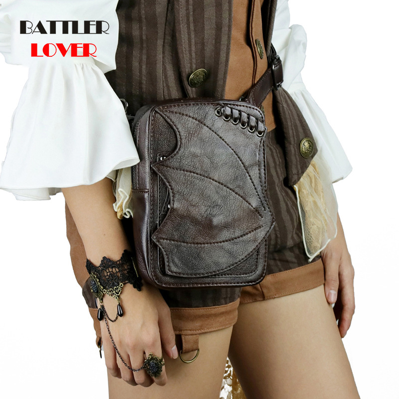 Cool SteamPunk Leather Waist Bag Retro Brown Crossbody Bag Rock Men Womens Gothic Black Fanny Packs Fashion Motorcycle Leg Bags