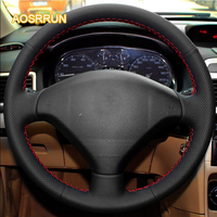 Sew On Genuine Leather Car Steering Wheel Cover Car Accessories For Peugeot 206 207 Citroen C2