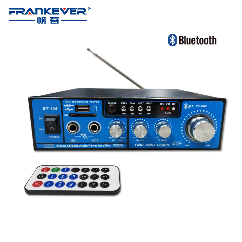 Frankever New Style Bluetooth HiFi Digital Audio Car Amplifier 2.1 Channel Home Amplifier Multifunction AMP Free shipping BT-138 wireless version digital audio amplifier bluetooth amp 2 mic home karaoke amplifier fm usb sd card loseless stereo amplifier