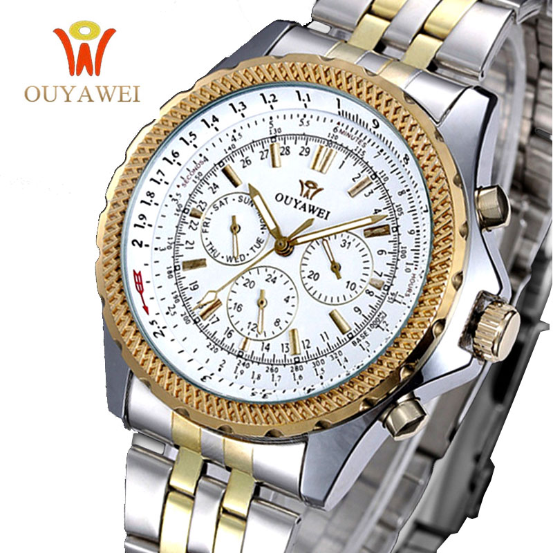 OUYAWEI Men Skeleton Mechanical Watch Stainess Steel Gold Dress Watches Day Date Watch Men Wristwatches Steampunk Montre Homme росмэн пакет подарочный для самой 180х110х50 barbie
