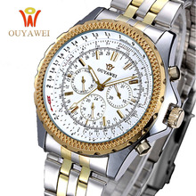 OUYAWEI Golden Men Skeleton Mechanical Watch Stainess Steel  fashion sport Watches Transparent Steampunk Montre Homme Wristwatch недорого