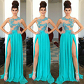 Don Nupcial Sexy Luz Azul Vestidos Longos 2016 Com Lantejoulas rendas applique fora do ombro até o chão prom party dress Vestidos