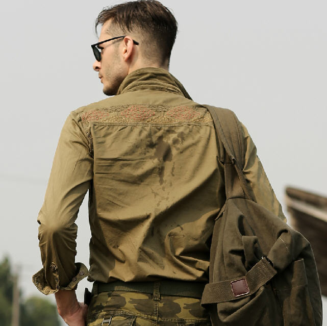 Men's casual long sleeved cotton shirt plus size military