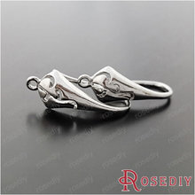 (28921-G)4PCS height 19MM Brass Imitation Rhodium Earring hook Diy Jewelry Findings Accessories Wholesale(China)