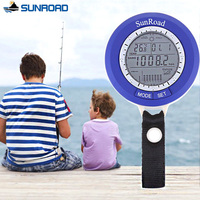 SUNROAD IPX4 Waterproof Digital Sports Barometer LCD Mini Fish Finder With Carabiner Relogio Altimeter Thermometer Fishing