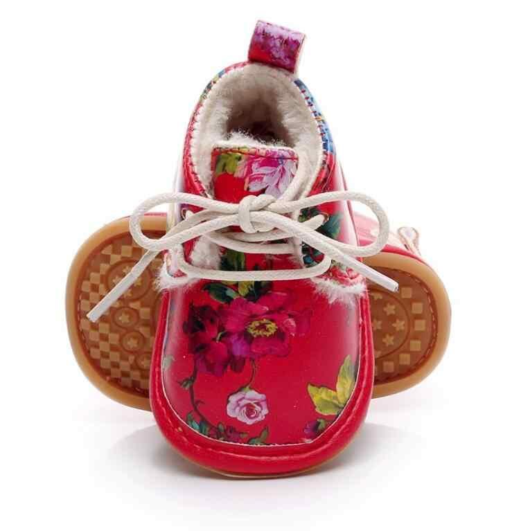 Лидер продаж; очень теплая зимняя детская обувь из искусственной кожи с мехом; детские мокасины со шнуровкой и цветочным принтом; зимние ботинки для девочек и мальчиков