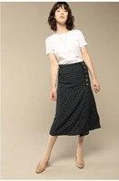 2019 New Summer Women Vintage Floral Print Dot Bohemian Skirt A Line Casual High Waist Split Belt Button Beach Skirt