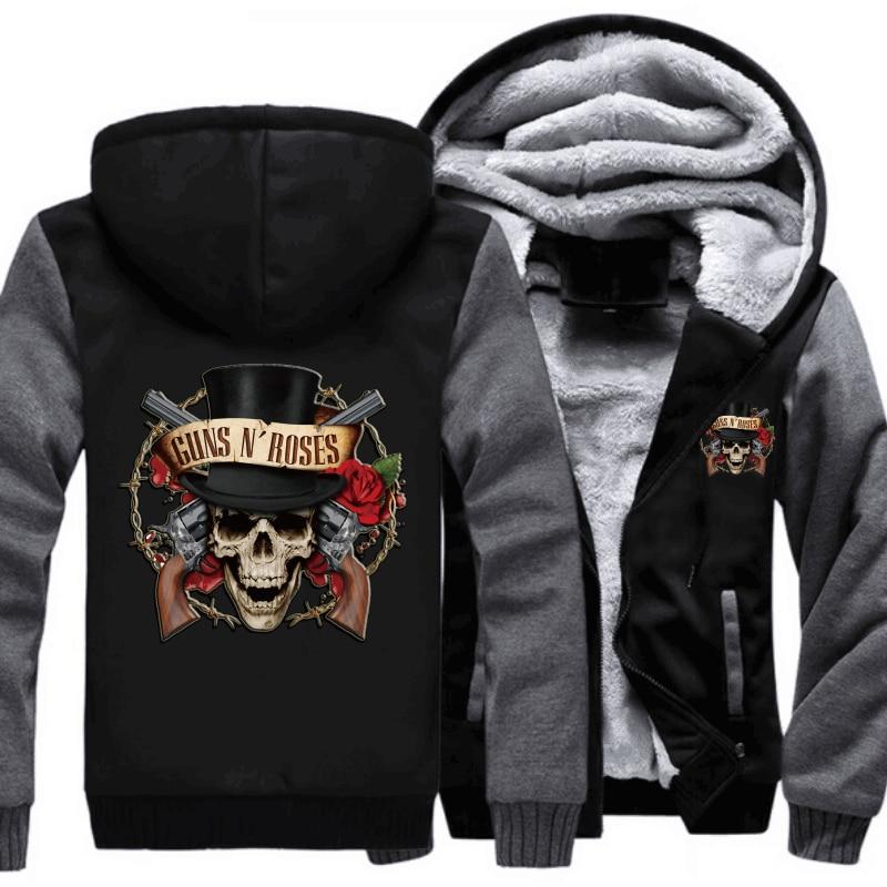 Printed Hoodies Guns N Roses Hoodies Thicken Fleece Sweatshirts Warm Men Jackets Casual Zipper Hoodie Winter Coats