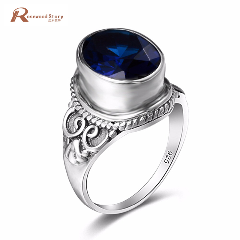 Fashion Handmade Cocktail Ring For Women Created Sapphire Stone Vintage 925 Sterling Silver Finger Ring Carved Lady Wedding Ring vintage oval carved ring for women