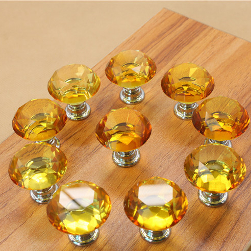 30mm Amber Crystal Glass Kitchen Cabinet Knobs And Handles Dresser