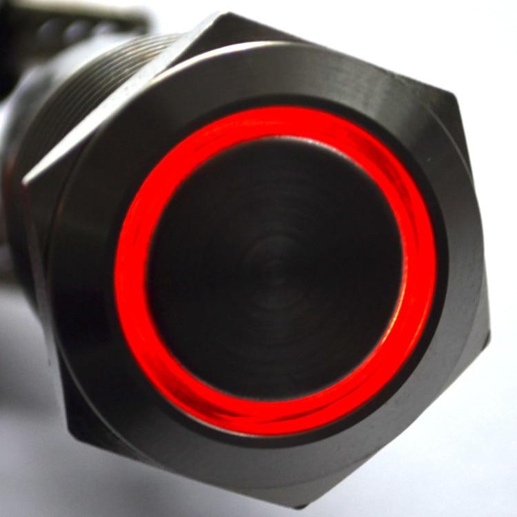 10pcs 19mm 12V 5A LED push Button Metal Switch High Flush free shipping drop shipping 10000699