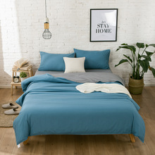 Classic bedding set 4 grey blue Solid Color bed linen 4pcs/set duvet cover Pastoral sheet AB side 5 feet