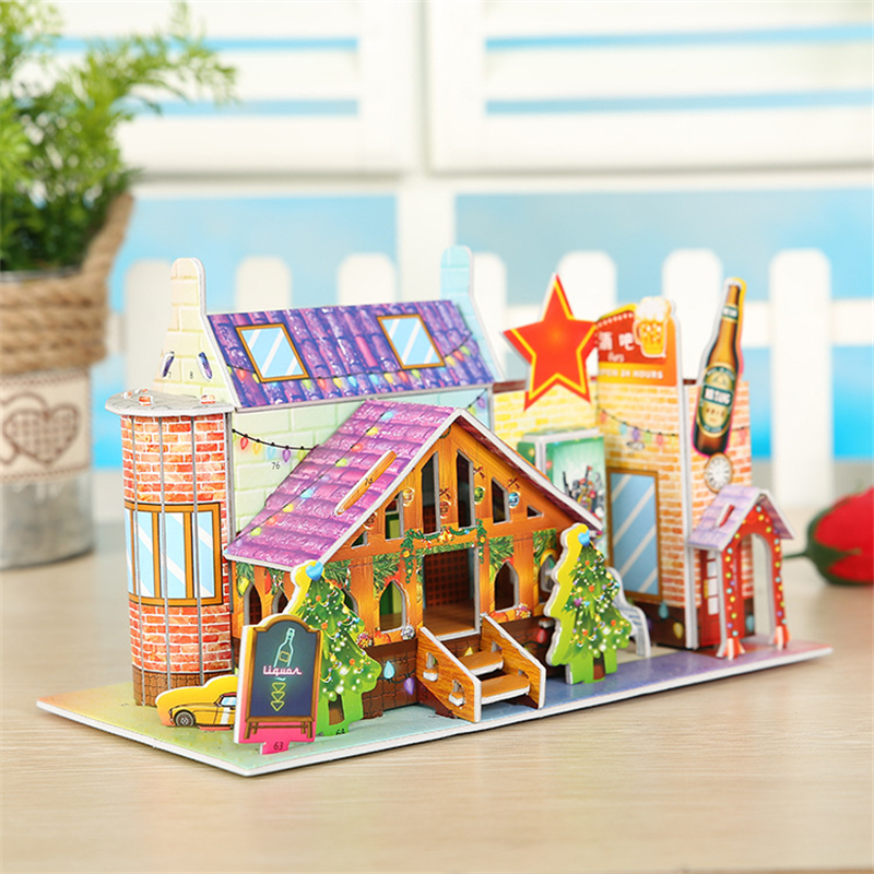 DIY Educational Bar Building Model 3D Puzzle Jigsaw Nice Bar House Building 3D Toy Scale Paper Building Assembling Puzzles Gifts solar military transport plane baron p320 jigsaw puzzle building blocks environmental diy toy