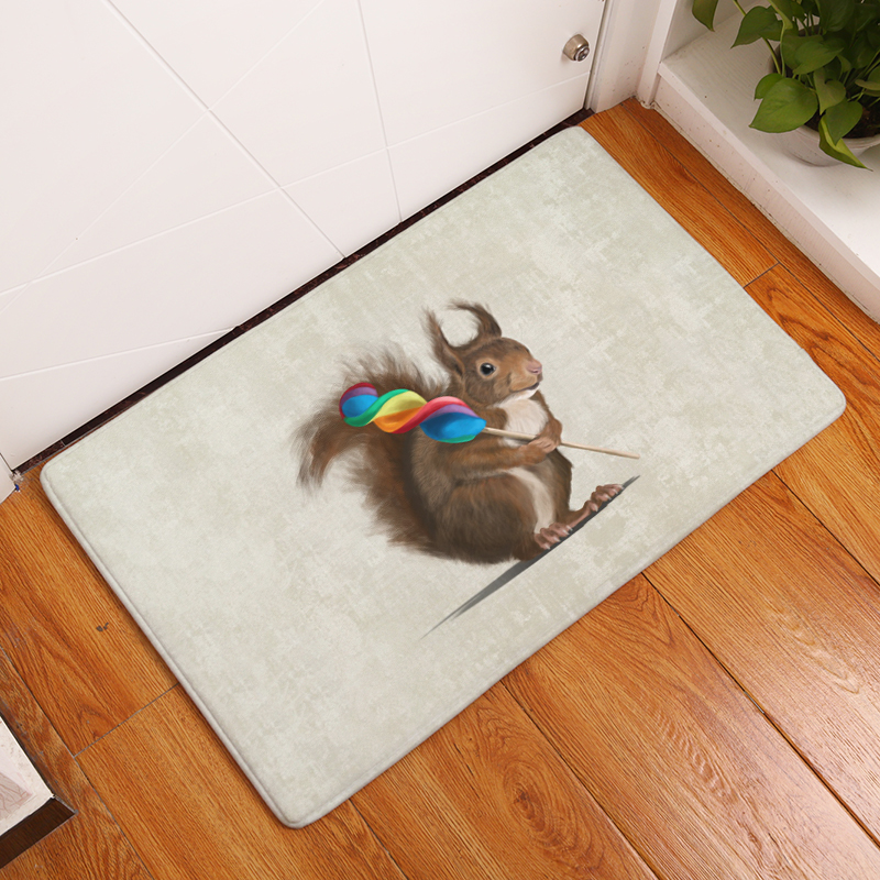 2017 New Squirrel Style Print Carpets Non-slip Kitchen Rugs for Home Living Room Floor Mats 40x60cm 50x80cm