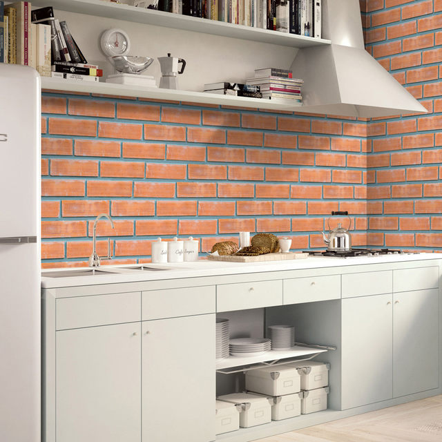 3D Brick Stone Wall Stickers 2018 NEW A RollSelf Adhesive Tile Art Wall  Decal Sticker DIY Kitchen Bathroom Decor Vinyl Drop Ship