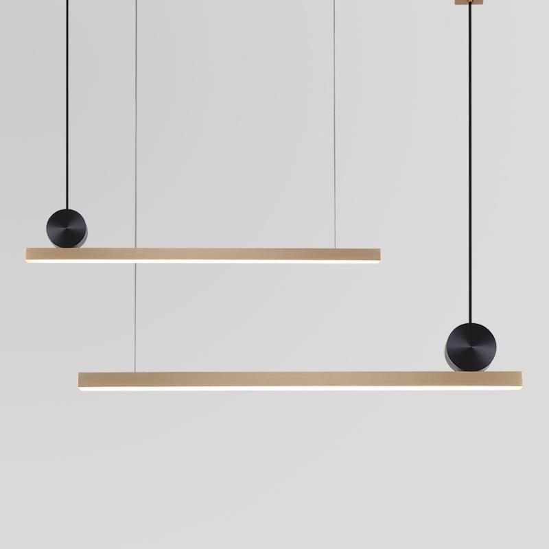 Modern Copper Strip LED Pendant Light Rectangle Brass Pendant Lamp For Office Kitchen Parlor Study Home Pendant Lighting B211