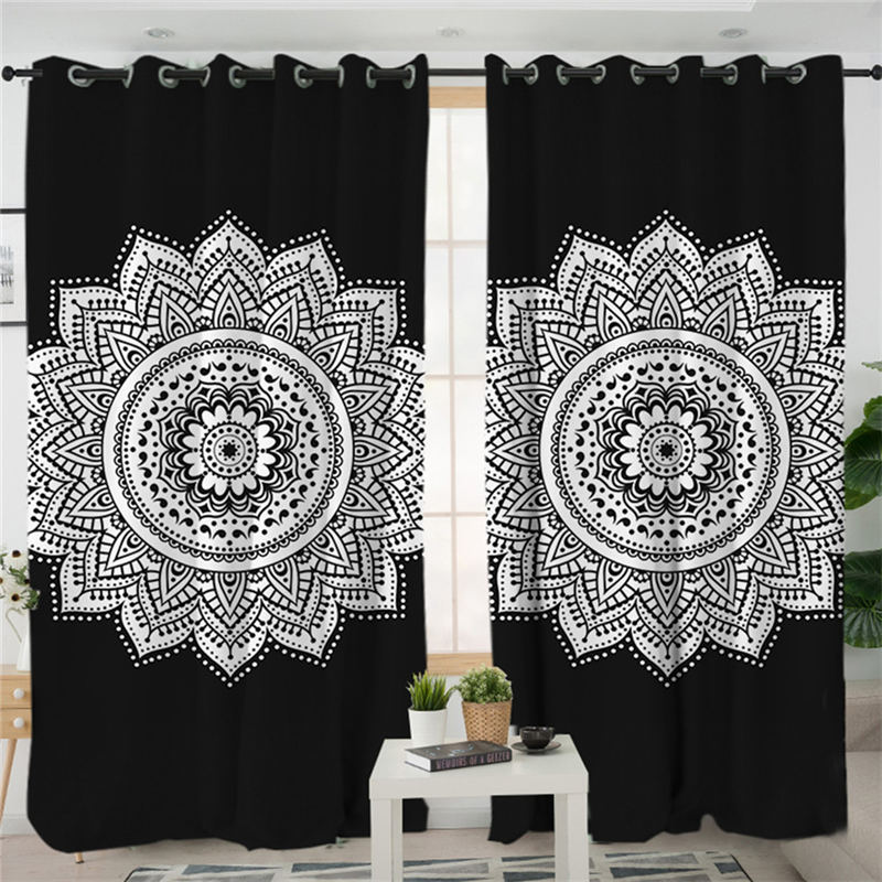 US $19.01 30% OFF|BeddingOutlet Mandala Living Room Curtains Black and  White Curtain for Bedroom Window Treatment Drapes A B Style Home  Decoration-in ...