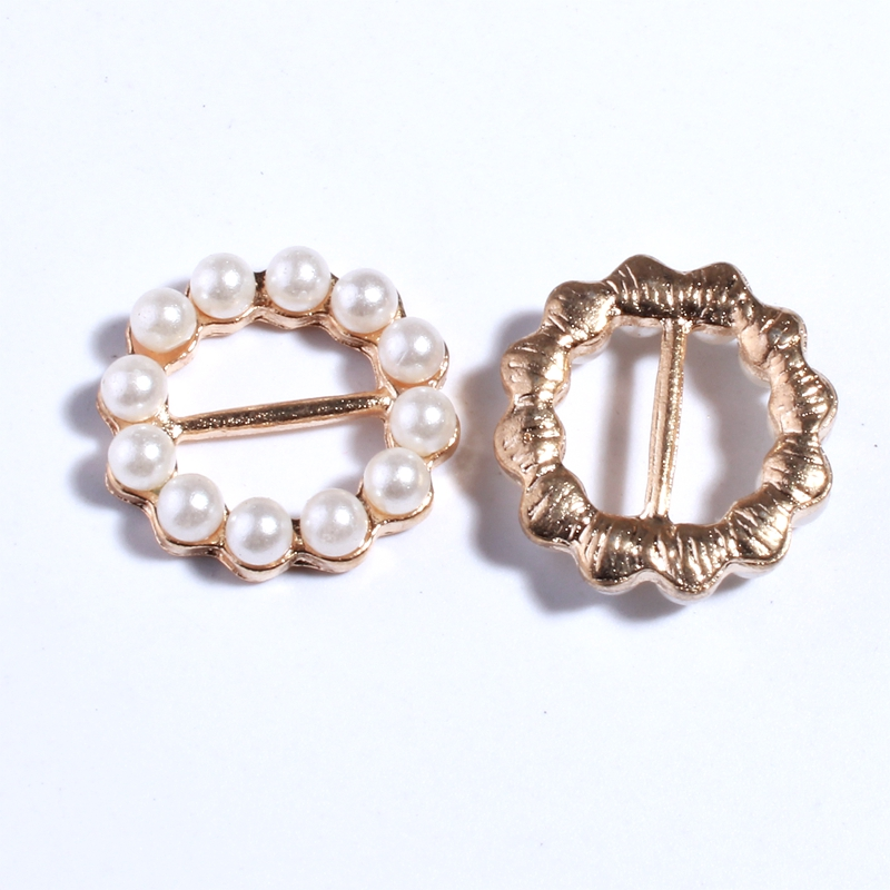 10PCS 19MM New Gold Round Crystal Pearls Rhinestone Buckle For Invitation Ribbon Slider For Wedding Ivory Accessories