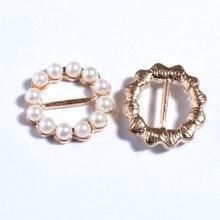 19mm novo ouro redondo pérolas de cristal strass fivela para convite fita slider fivelas para casamento marfim acessórios