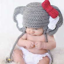 f0cb48cf42a 2018 0-6M Baby Animal Elephant Bowknot Photo Prop Crochet Knit Wool Hat Cap  Newborn Baby Kids Child Gifts