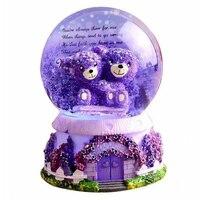 Cartoon Purple Lavender Couple Bear Glowing Crystal Ball Music Box Ornaments Creative Glass Ball Music Box Home Decoration Gifts
