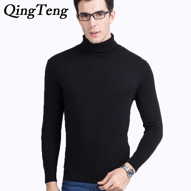 Qingteng Mens Black Cashmere Turtleneck Sweater Male Pullover Winter