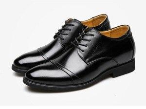 """Image 2 - Cyabmoz חדש גברים עסקי שמלת נעלי גובה הגדלת 6 ס""""מ קלאסי חתונה נעליים רשמיות גברים פרה פיצול עור מעלית נעליים"""