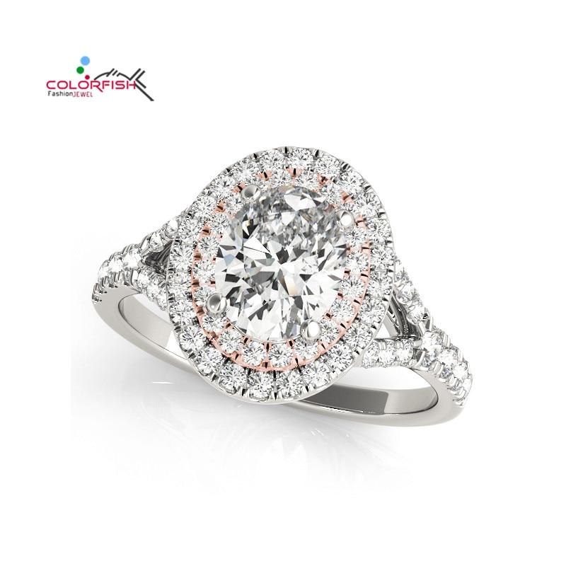 купить COLORFISH Oval Cut 1/2 ct Center Sona Two Tone Engagement Ring for Women Fashion Jewelry Split Shank 925 Sterling Silver Rings по цене 2968.09 рублей